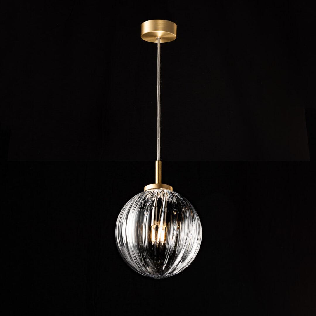 Edition Goldy mit Glaskugel in Aquablau und Struktur längs