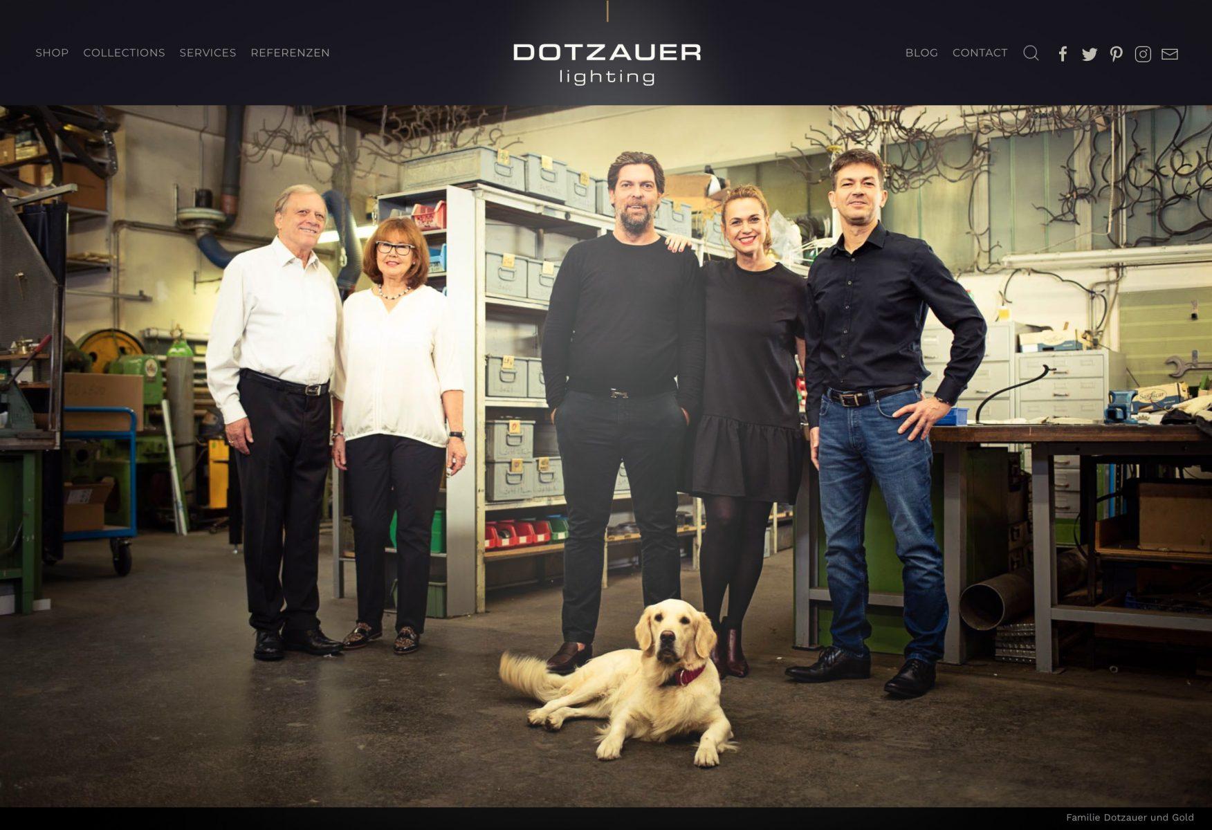Familie Dotzauer und Gold / 2te und 3te Generation mit Mona, die Manufaktur-Hündin